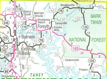 Maps Branson MO - Mo county map