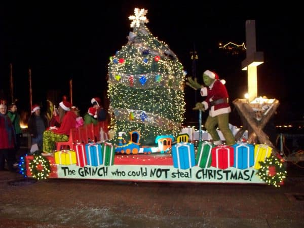 One of many beautifully decorated and lit floats in the parade dedicated to keeping Christ in Christmas.