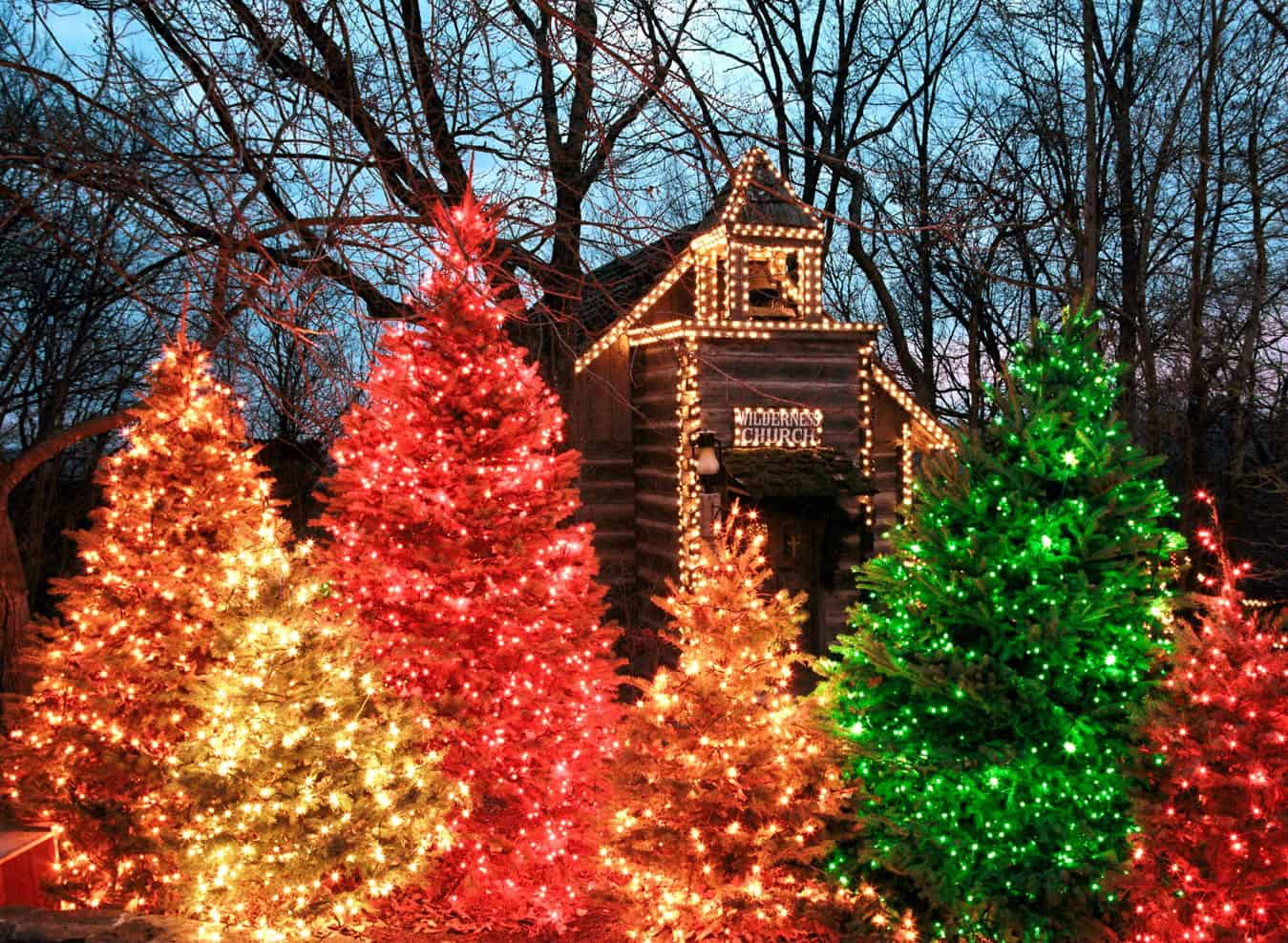 Silver Dollar City's Wilderness Church amid some of the hundreds of beautifully lit trees throughout the park.*