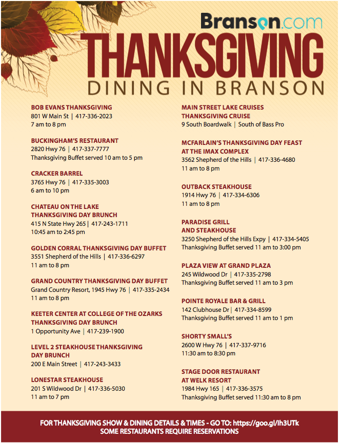 2018 Thanksgiving Meal List for Branson, Missouri